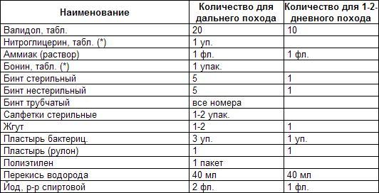 список индивидуальных медикаментов путешественника